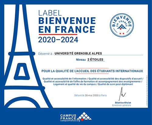 Bienvenue en France- le label 2 étoiles de l'UGA
